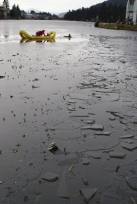 Kodiak firemen practice water rescuing at Lilly Lake