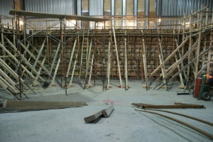 New Kodiak High School pool construction from the deep end