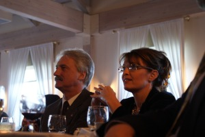 State Fish Commissioner Denby Lloyd and Gov. Sarah Palin at the ComFish 2009 gala dinner
